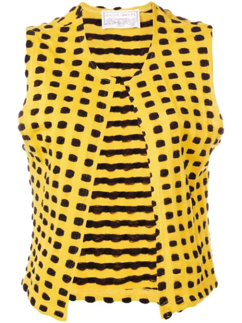 Krizia Vintage 1970's Graphic Knitted Vest In Yellow