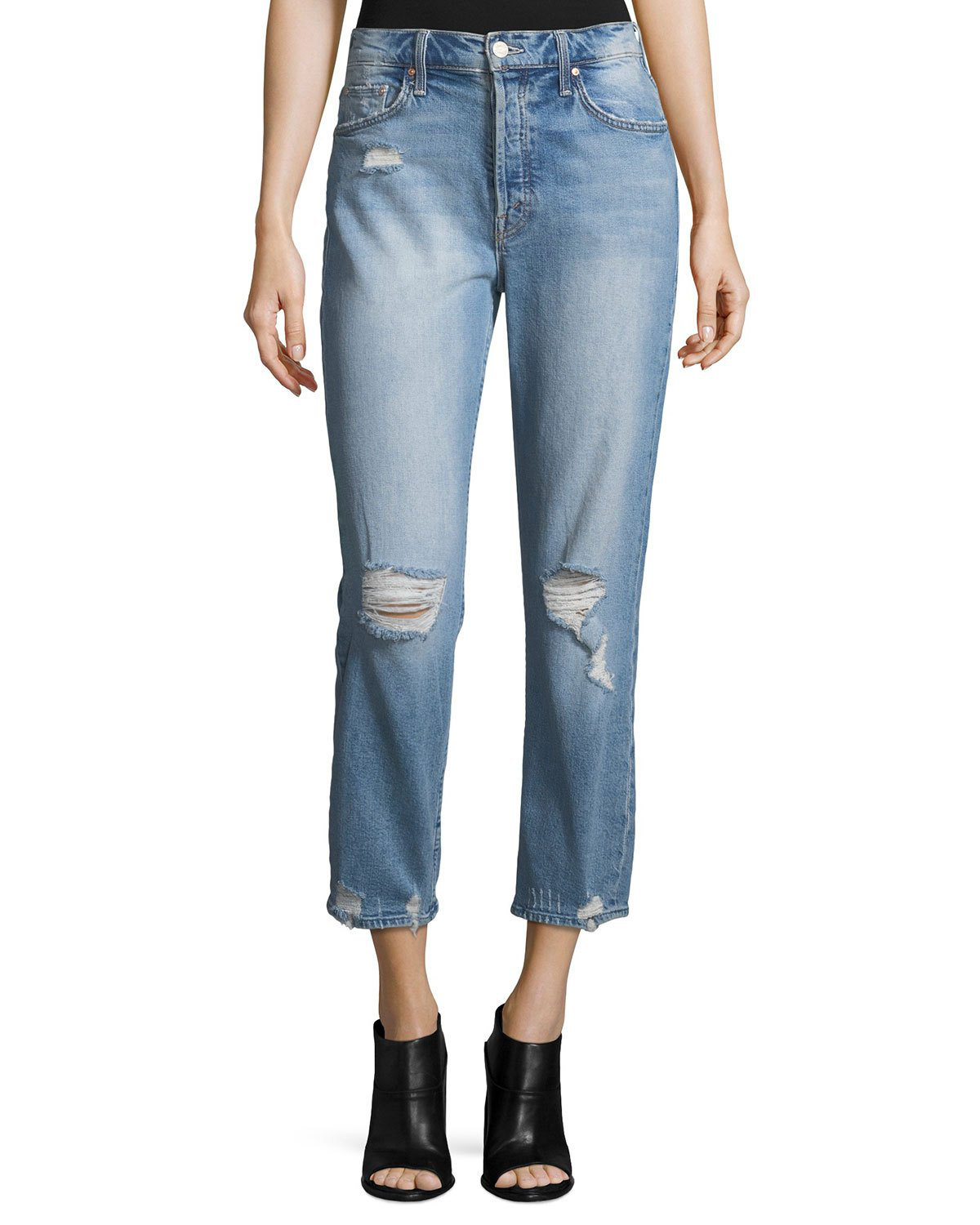 8f38c78fbb Mother The Tomcat Cropped Distressed High-Rise Straight-Leg Jeans In Light  Denim