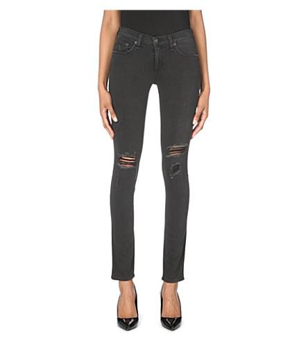 Rag & Bone Distressed Skinny Mid-rise Jeans In Soft Rock W/ Holes