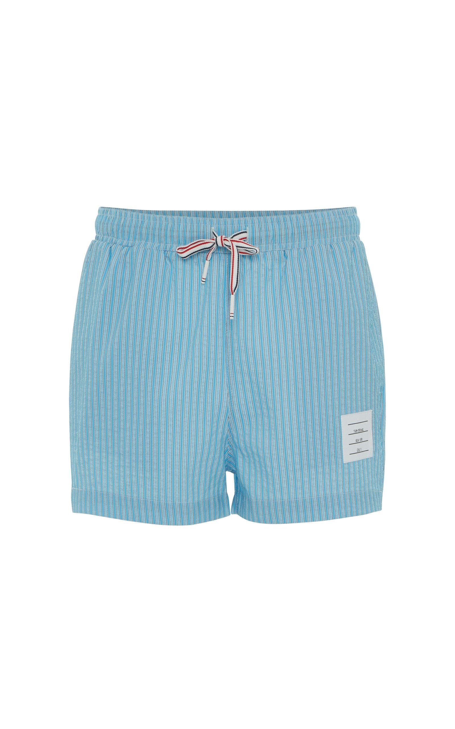 75d1a7c83968f Thom Browne Striped Seersucker Swim Short In Blue | ModeSens