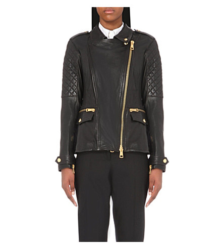 Burberry Diamond Quilted Detail Lambskin Biker Jacket In Black