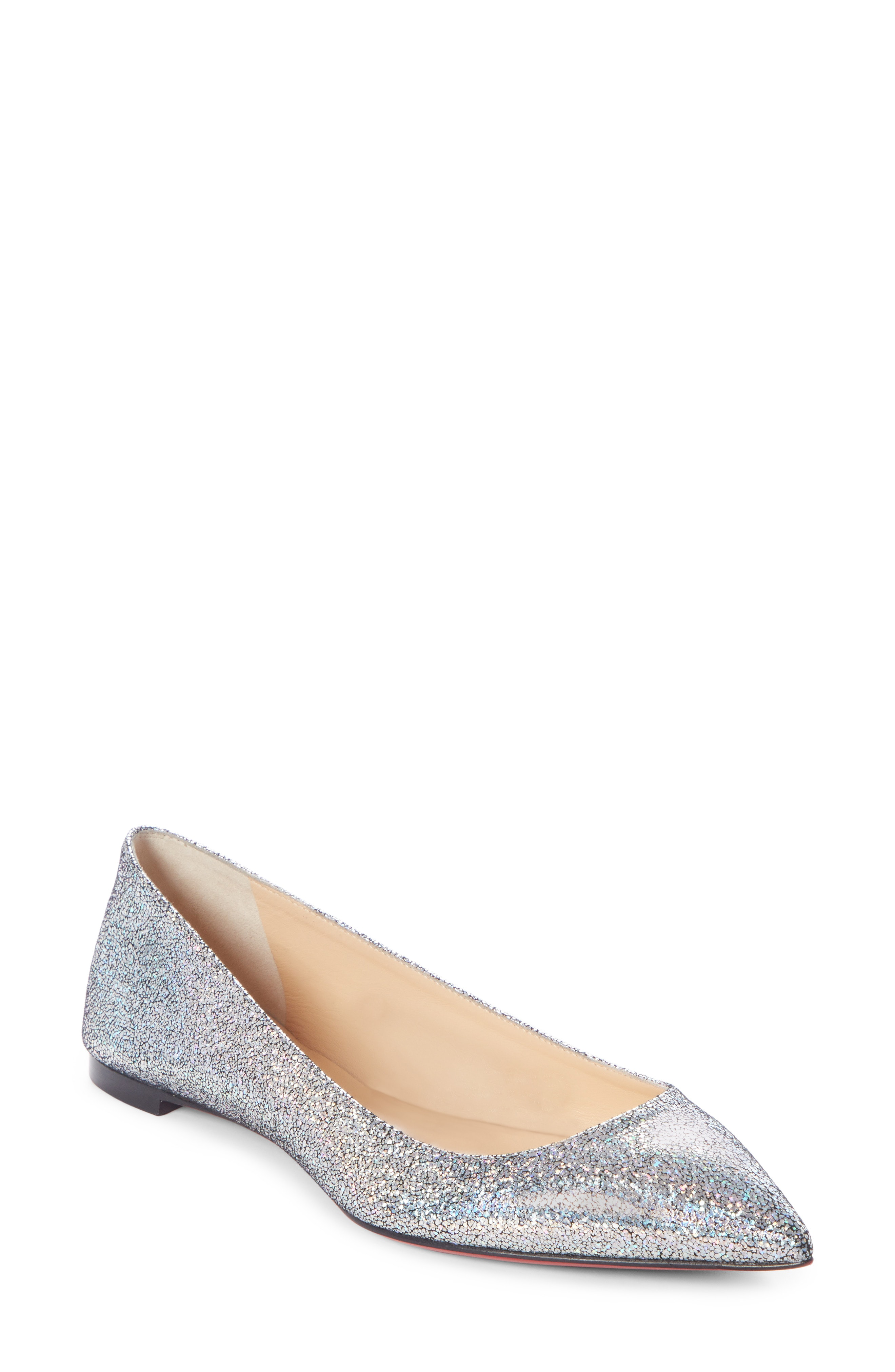 1f93c03d0210 Christian Louboutin Ballalla Iridescent Glittered Leather Point-Toe Flats  In Silver