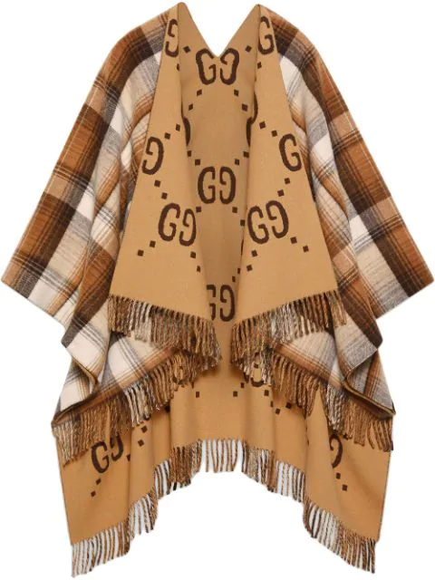 Gucci Reversible Gg Wool Poncho In Brown ,white