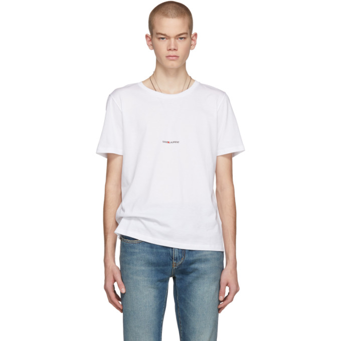 Saint Laurent White Cotton Basic T-Shirt With Logo In 9000 White