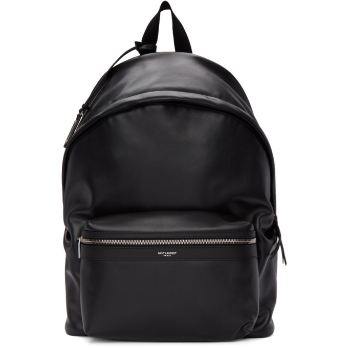 12c4b6a7ea6dfe Saint Laurent Black Leather City Backpack In 1000 Black | ModeSens