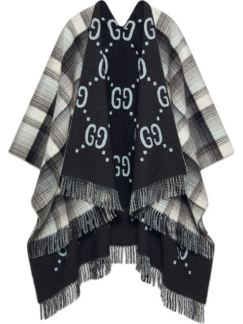 Gucci Reversible Gg Wool Poncho In Grey