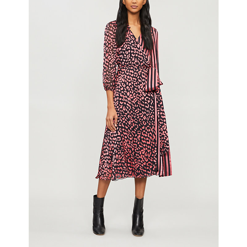 Alice And Olivia Abigail Printed DevorÉ And Silk-satin Midi Wrap Dress In Black