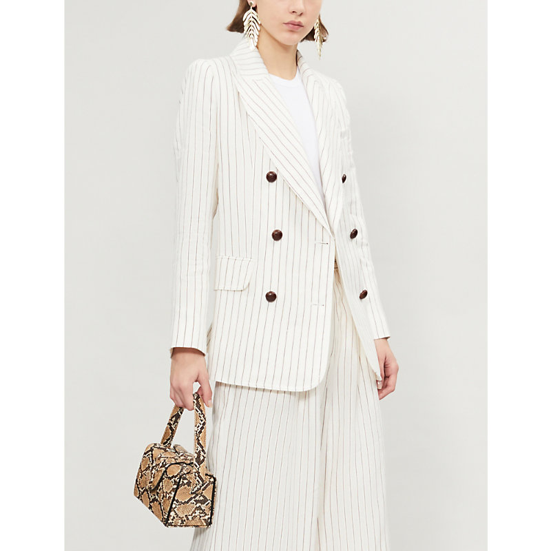 Zimmermann Corsage Striped Linen Blazer In White