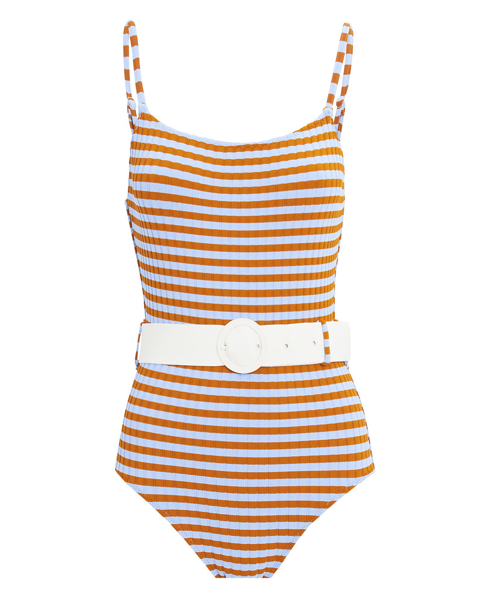 0c102fa4f5a Solid   Striped Nina Belted One Piece Swimsuit In Multicoloured ...