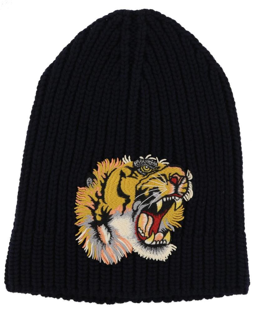 5c7fa451 Gucci Embroidered Tiger AppliquÉ Wool Beanie Hat In Navy | ModeSens