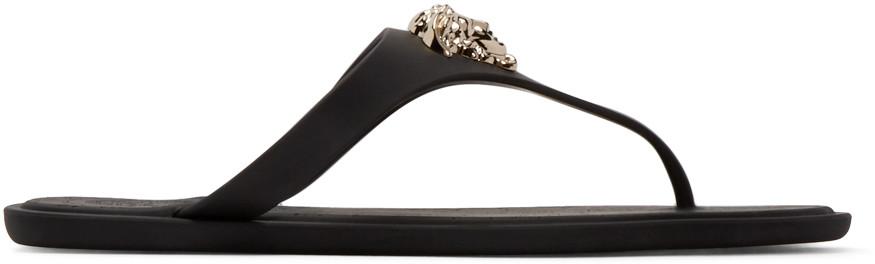 5fc61dfd3765 Versace Gold Medusa Flat Slide Thong Sandal In Black