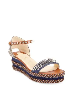6cb1ee3a296 Christian Louboutin Madmonica 60 Leather   Denim Spike Platform Wedge  Sandals In Multi