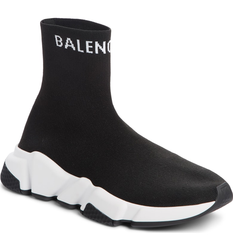 Balenciaga Hi Speed Logo Sock Sneaker In Black