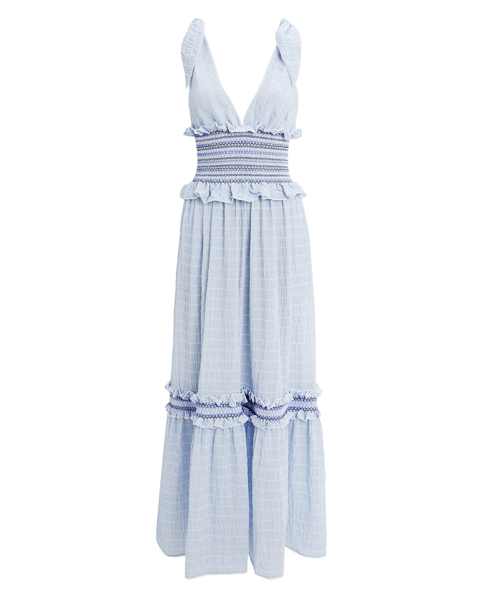 a16aff267a3 Jonathan Simkhai Smocked V-Neck Ruffle Maxi Dress In Baby Blue ...