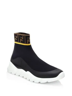 Fendi Coated Logo-jacquard Stretch-knit High-top Sneakers - Black