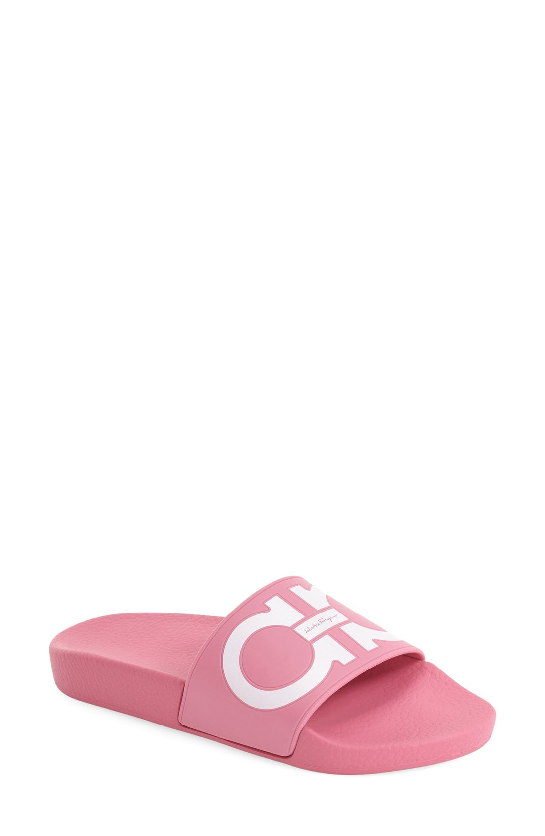 114894f559d8 Salvatore Ferragamo Groove Gancini Flat Slide Sandals