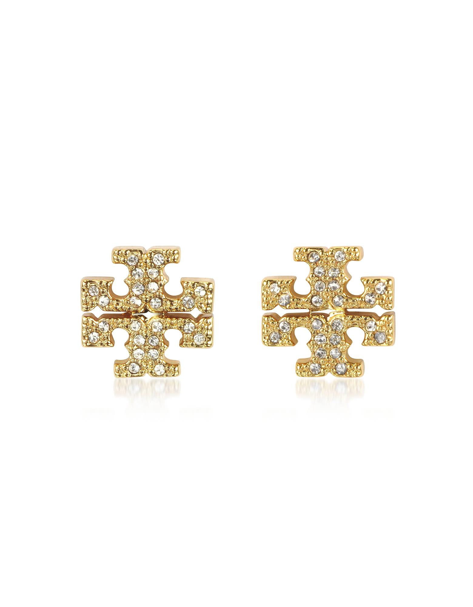 edfea488d51 Tory Burch Crystal Logo Cross-Stud Earrings In Gold | ModeSens