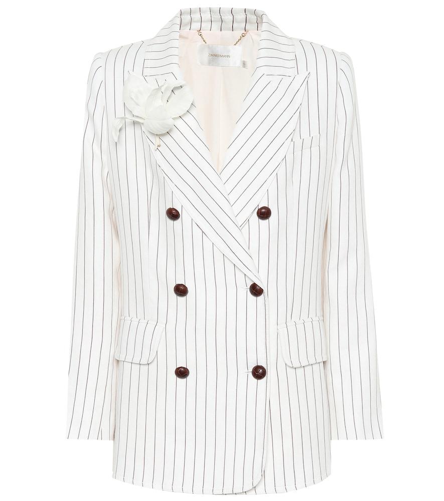 Zimmermann Corsage Striped Linen Blazer In White