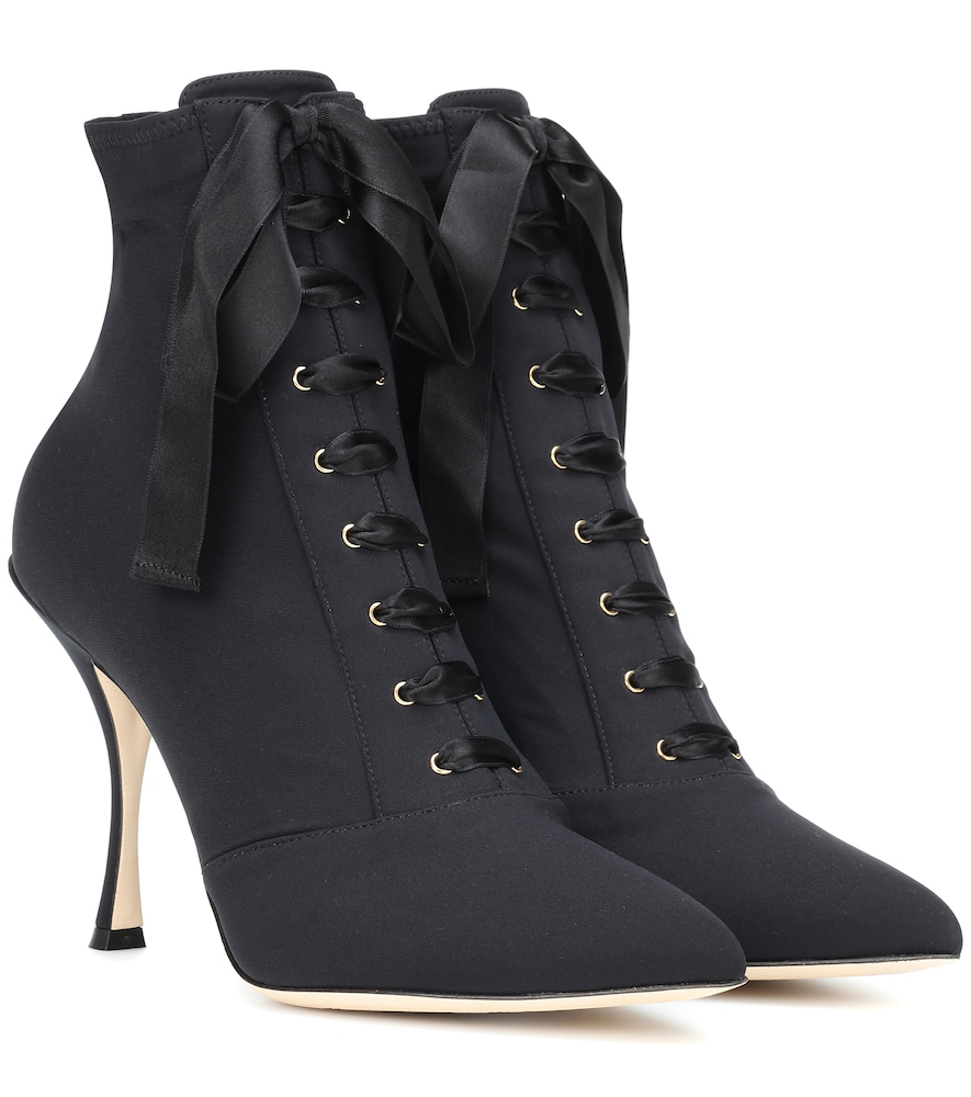 Dolce & Gabbana Lori Stretch Jersey Ankle Boots In 80999 Nero