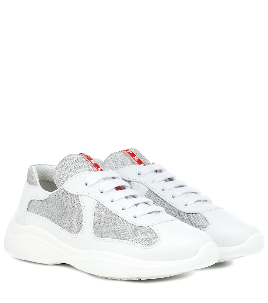 Prada America's Cup Leather And Metallic Mesh Sneakers In White