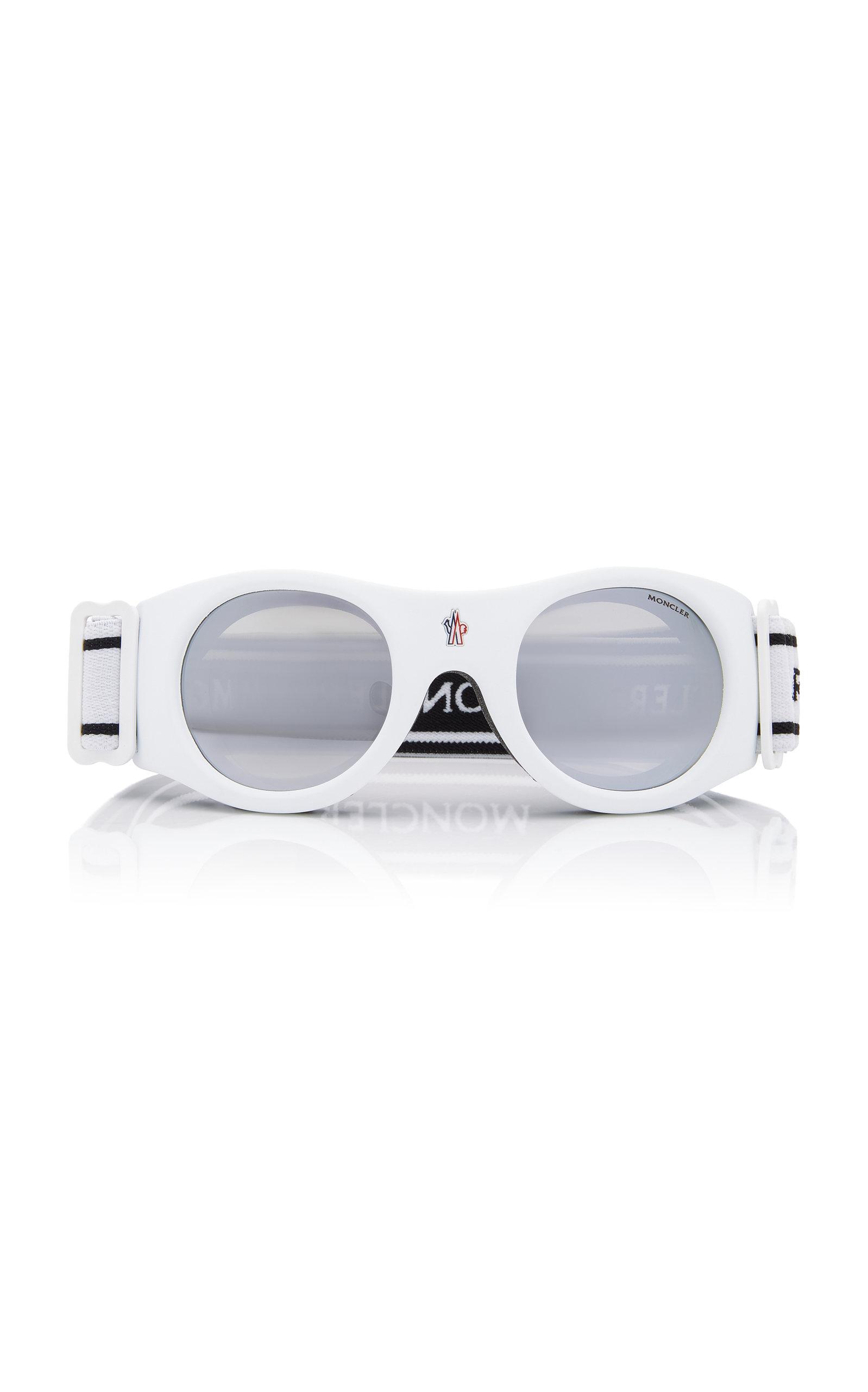 f02d232a614 Moncler Sunglasses Round-Frame Ski Goggles In White