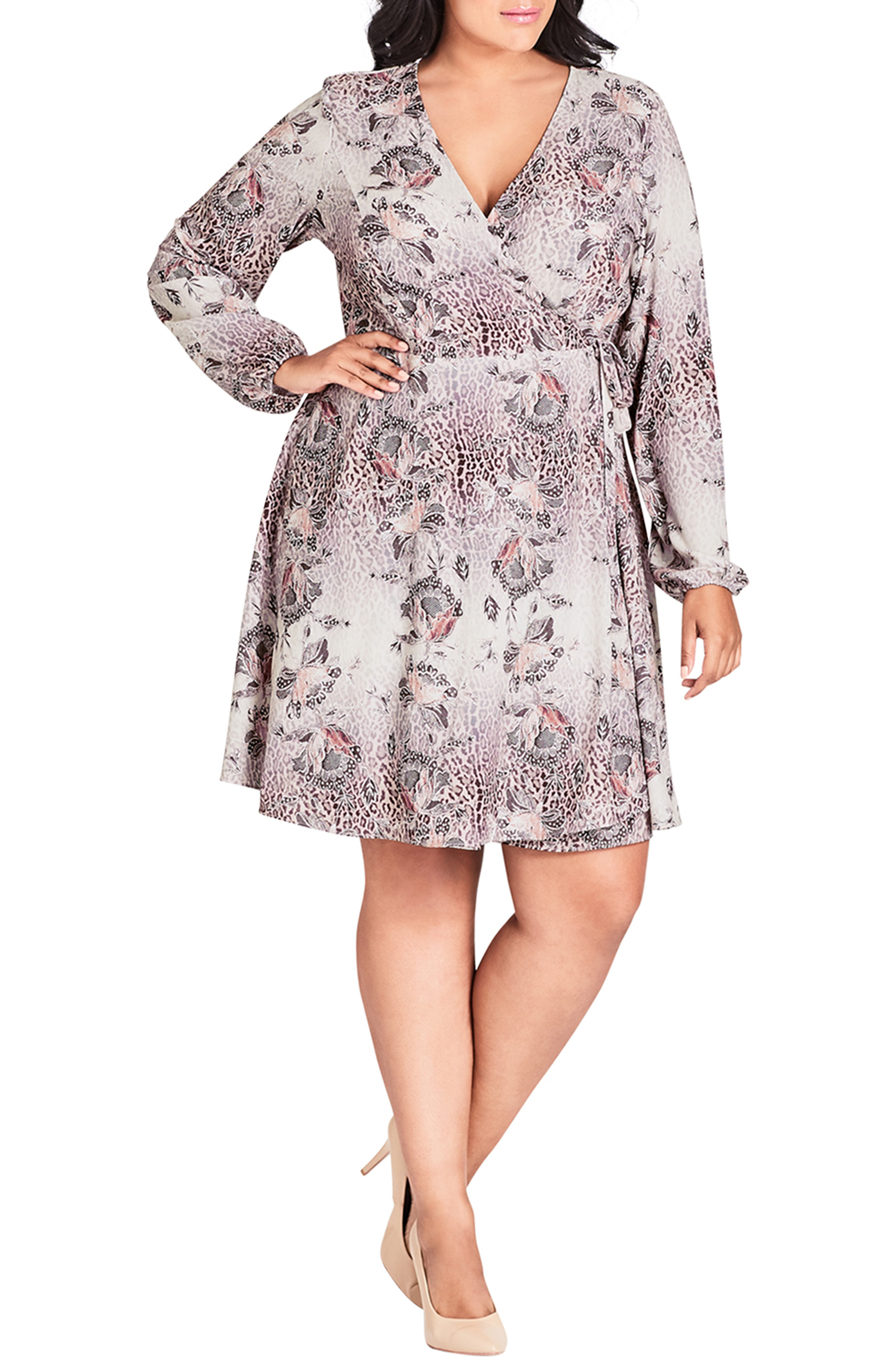 a76551ad500f5 City Chic Trendy Plus Size Mixed-Print Faux-Wrap Dress In Wild Lace ...