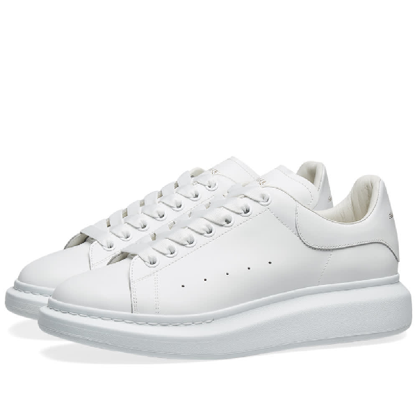 Alexander Mcqueen Raised Sole Low Top Leather Trainers In White