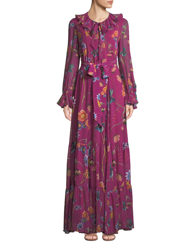 5dc545d93d5b Borgo De Nor Anna Long-Sleeve Floral-Print Silk Georgette Maxi Dress ...