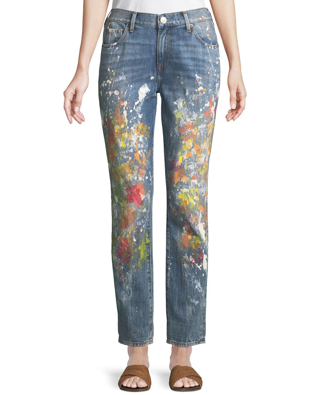 3e7ec7000 True Religion Cameron Slim Boyfriend Paint-Splatter Jeans In Blue Pattern