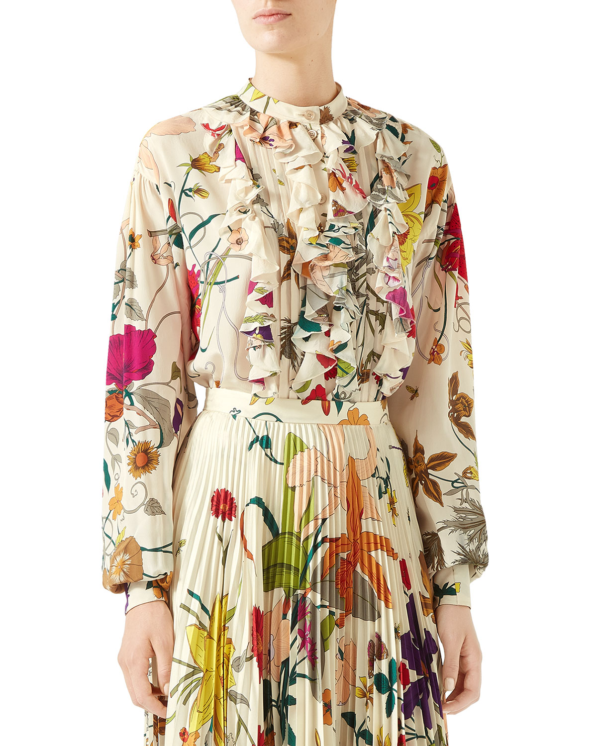 6a6603e99 Gucci Flora Gothic Ruffled Button-Front Blouse In Neutrals   ModeSens