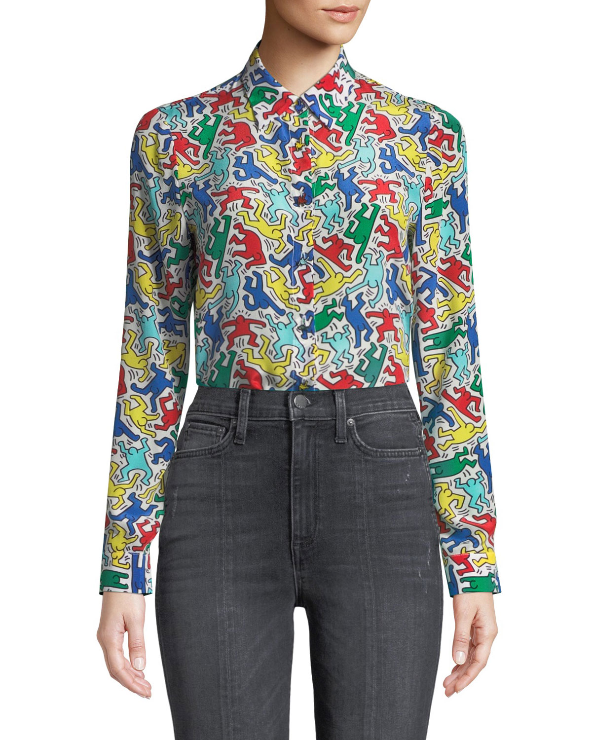 90734e35b01ed Alice And Olivia Keith Haring X Alice + Olivia Willa Placket Top In Dancing  Man Soft