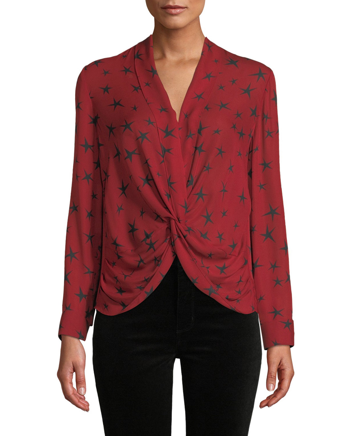 744e3a91f8651e L Agence Mariposa Star-Print Silk Crossover Blouse In Lacquer Red Black