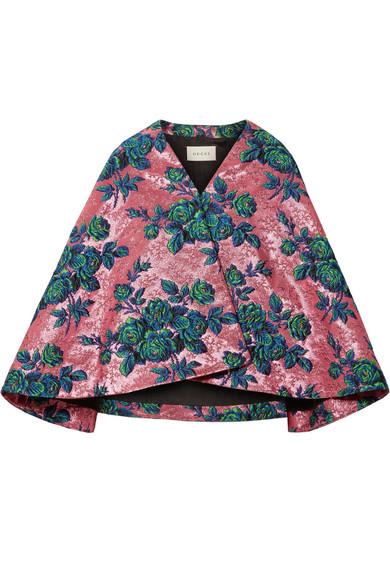 Gucci 花卉锦缎夹克 - 粉色 In Pink