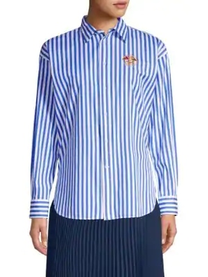 152118dc1c Polo Ralph Lauren Ellen Embroidered Striped Long-Sleeve Button-Down Shirt  In Blue White