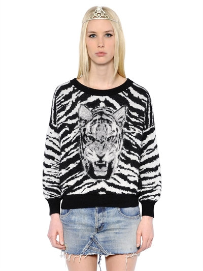 Saint Laurent Crewneck Sweater In Black, Ivory And Heather Grey Tiger Head Woven Mohair, Polyamide And Virgin Wool In Black/white