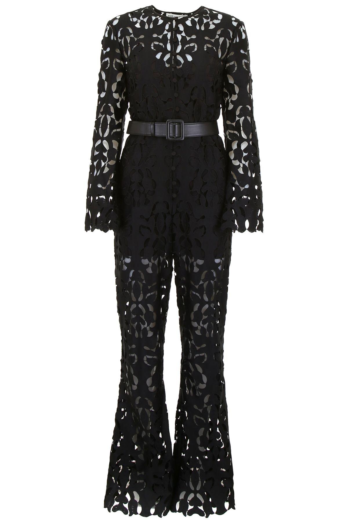 076e5d7929c2 Self-Portrait Tech Lace Jumpsuit W/ Faux Leather Belt In Black ...