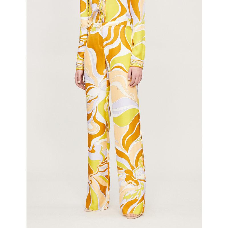Emilio Pucci High-rise Printed Silk-twill Wide-leg Trousers In Brown