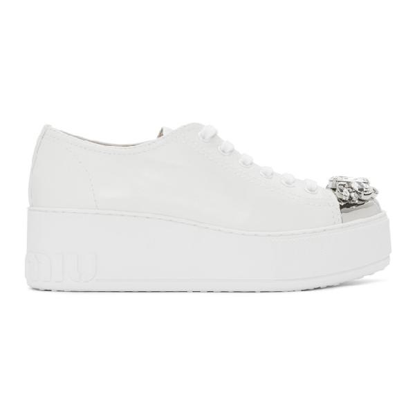 Miu Miu Women's Croc-embossed Crystal-embellished Platform Sneakers In F0009 White