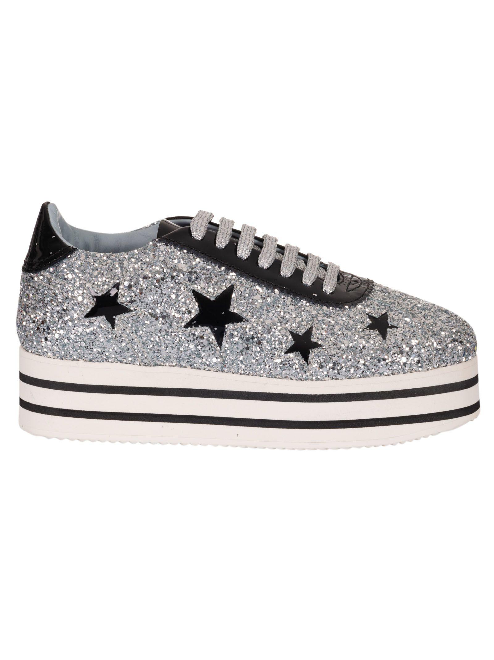5c3b6a0b22e594 Chiara Ferragni Suite Platform Sneakers With Stars In Metallic ...