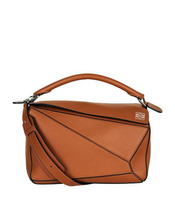 Loewe Puzzle Medium Grained-leather Cross-body Bag In Tan