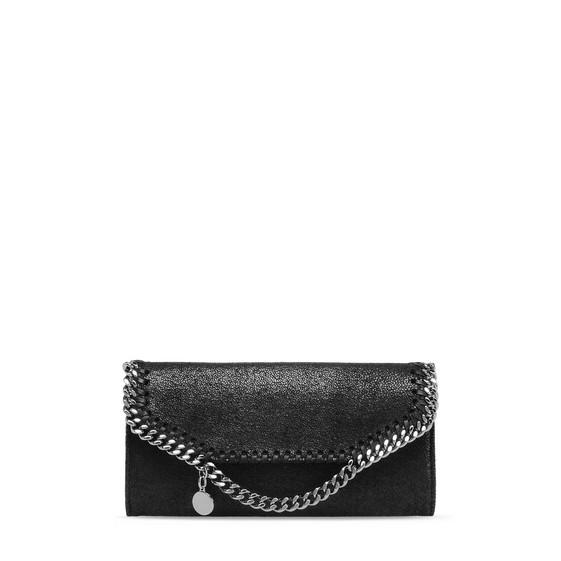 Stella Mccartney Black Falabella Shaggy Deer Zip Wallet