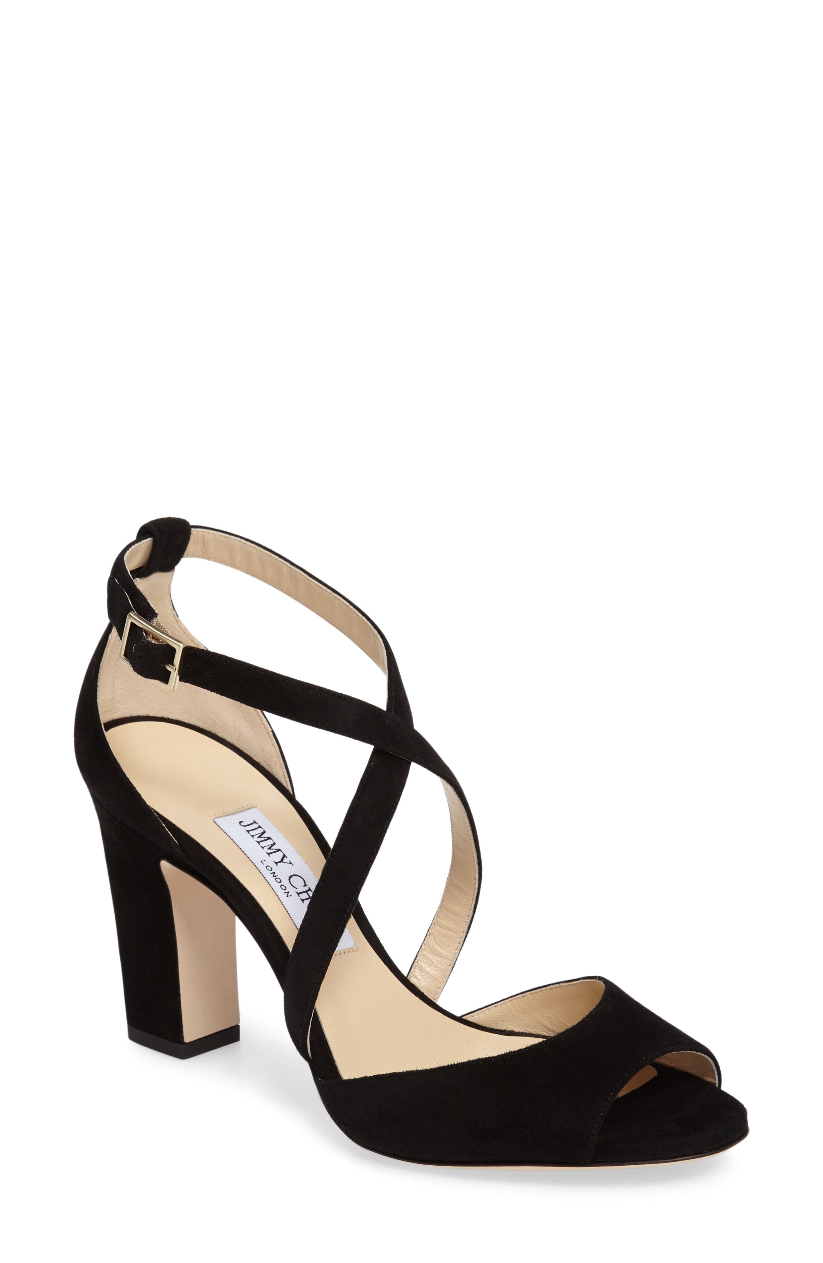 9ed8905c81f Jimmy Choo Women s Carrie 85 Suede Crisscross High-Heel Sandals In Beige