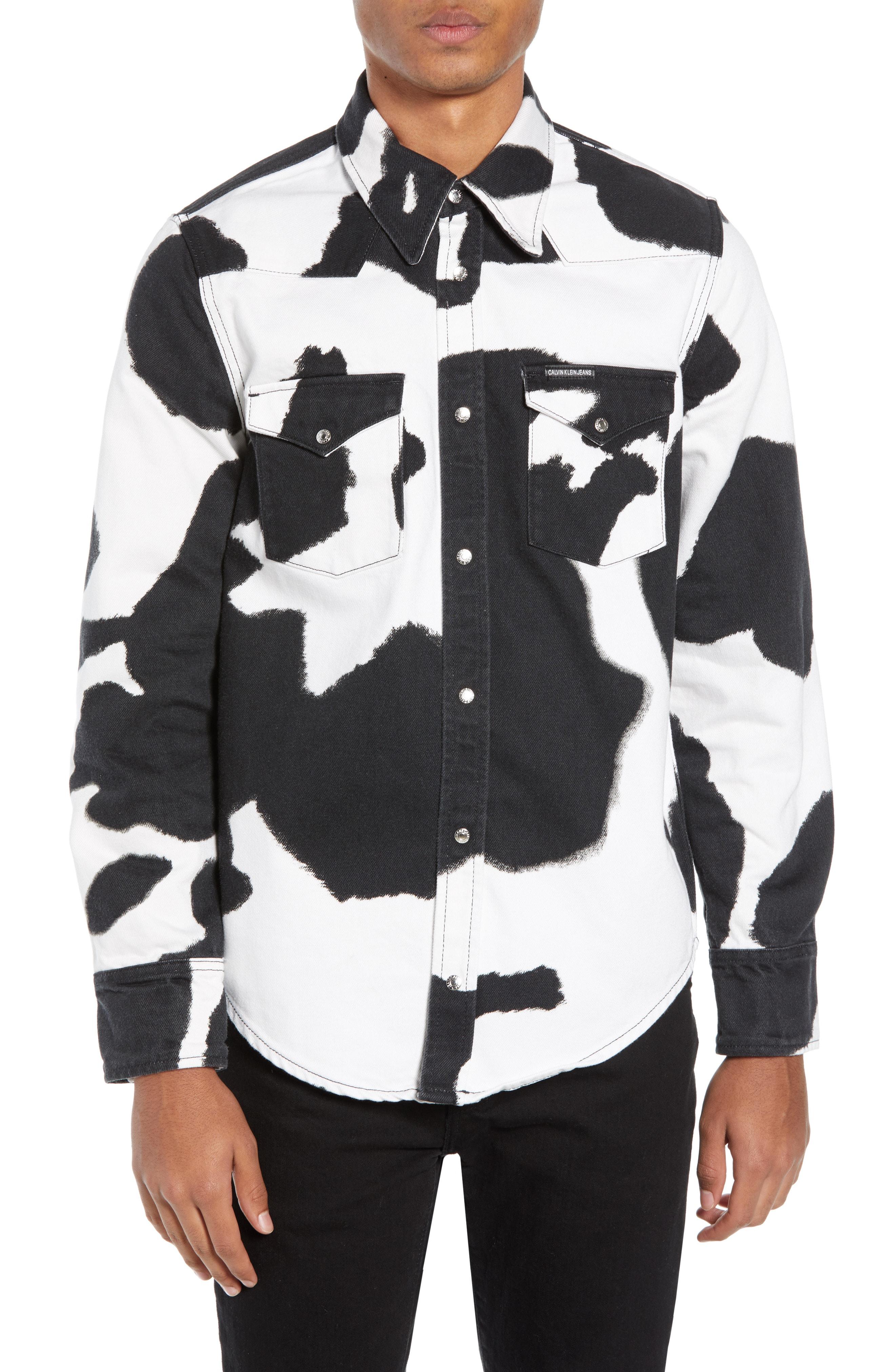 69ef57c0 Calvin Klein Jeans Mens Foundation Western Shirt In Cow Print | ModeSens