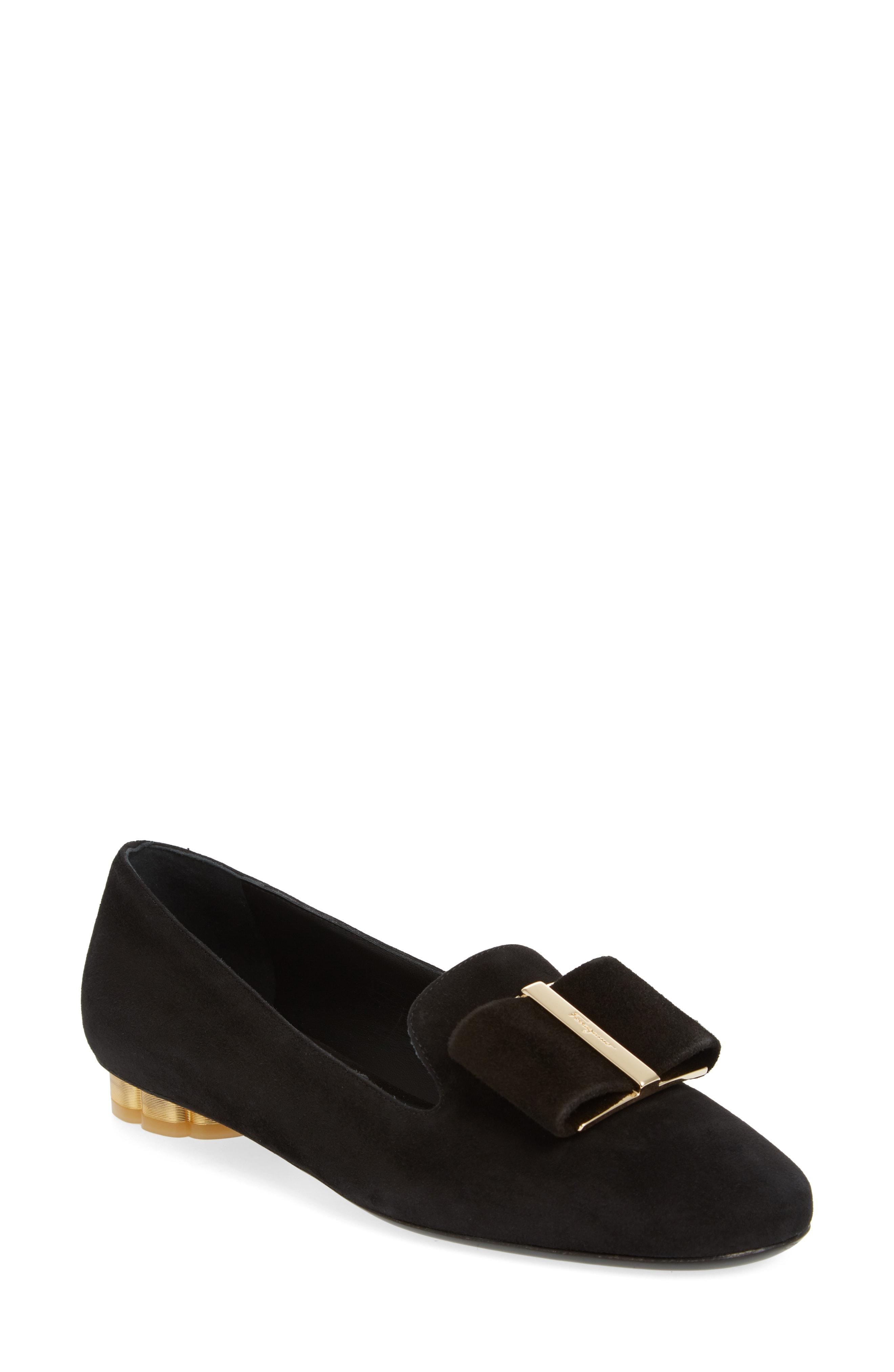 6d6d05c1fa4 Salvatore Ferragamo  Sarno  Metallic Flower Heel Bow Velvet Loafers ...