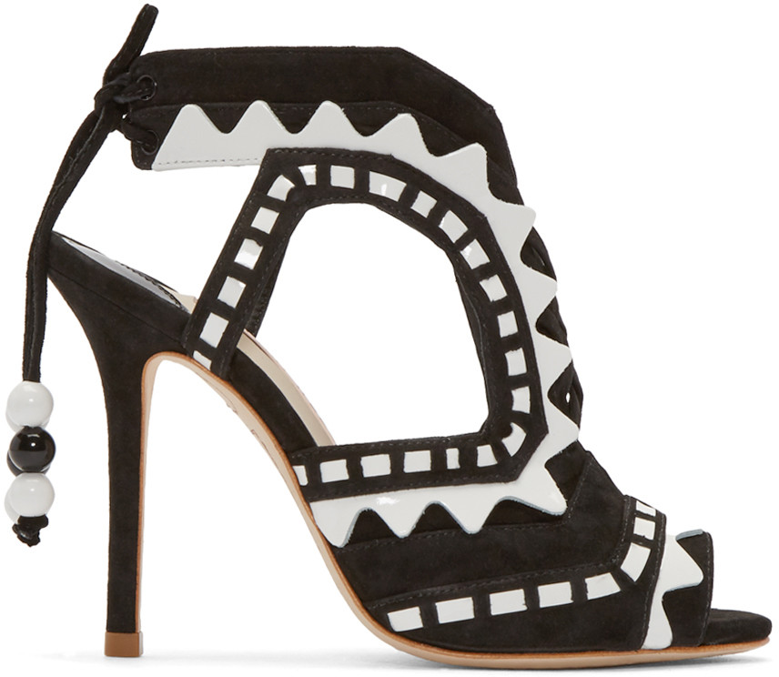 Sophia Webster Riko Cutout Patent-leather And Suede Sandals In Black