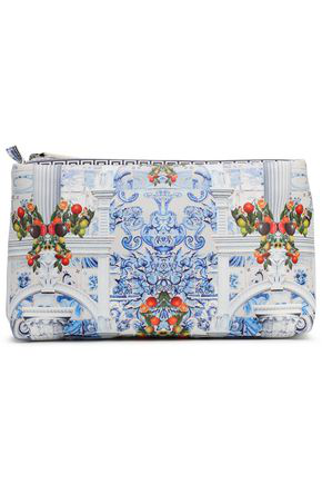 Camilla Woman Printed Coated Faux Leather Cosmetics Bag Off-white