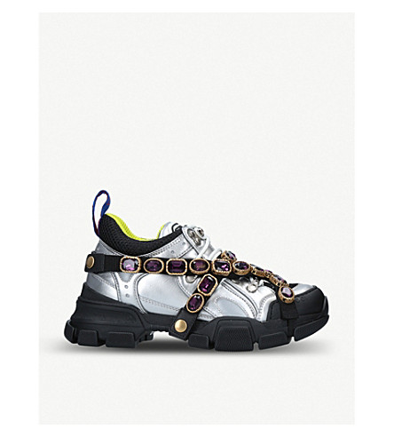 1d4b5f4b180 Gucci Flashtrek Sneaker With Removable Crystals In Metallic