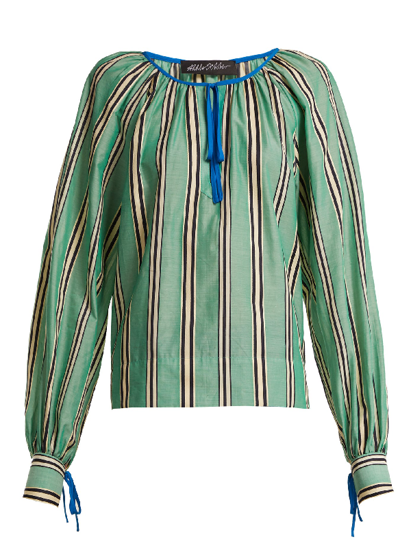 Anna October Stripe Printed Round Neck Cotton Blouse In Green