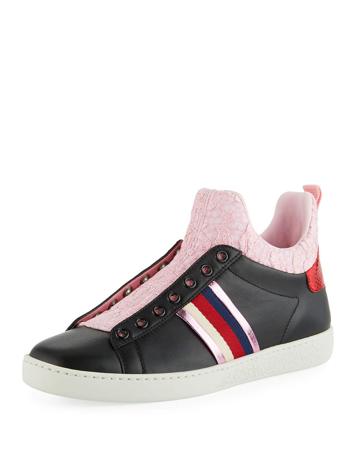 e421718c371 Gucci New Ace Lace High-Top Sneakers In Black