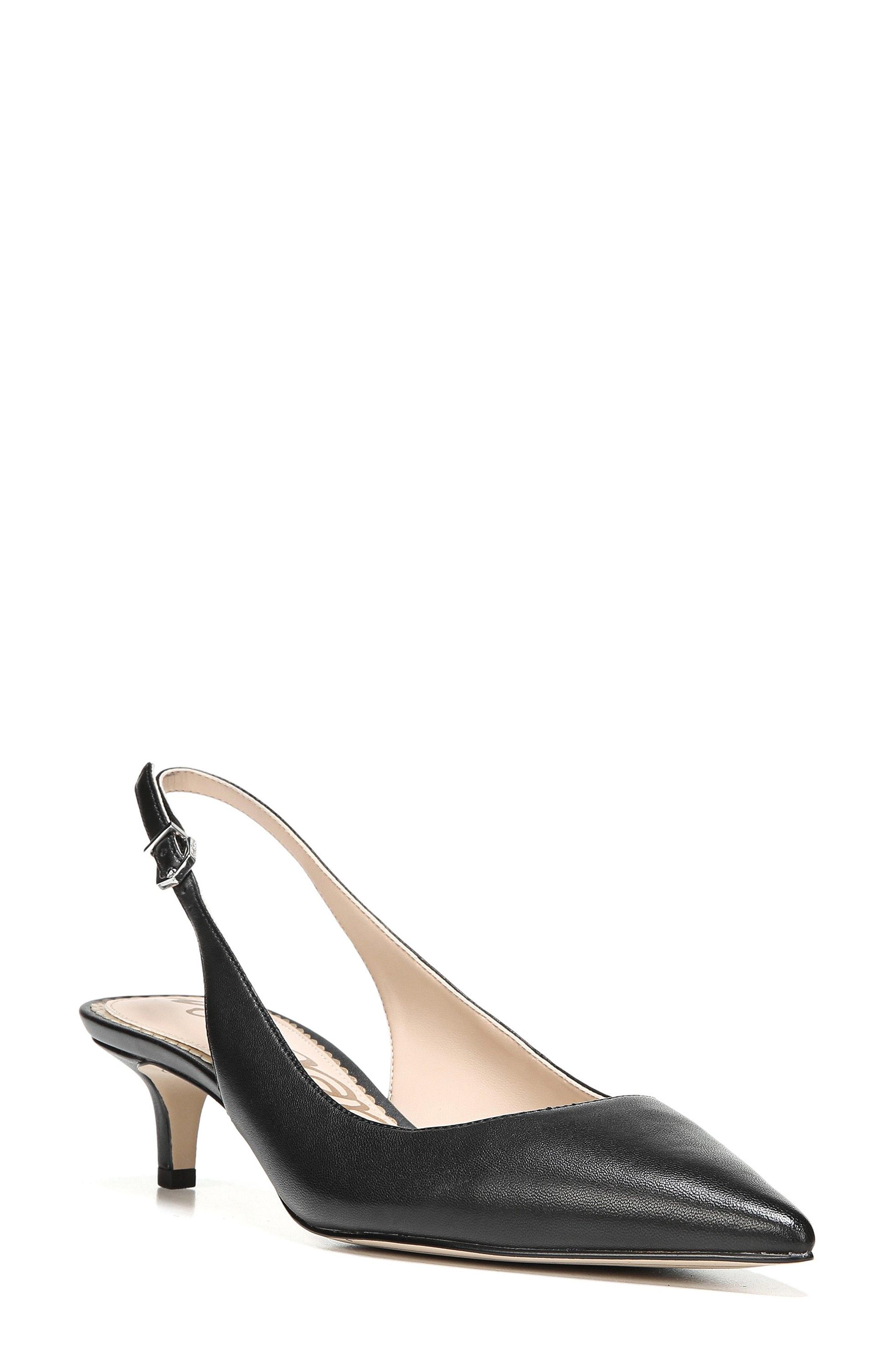 f46fc0e4d78755 Sam Edelman Ludlow Leather Kitten-Heel Slingback Pumps In Black ...